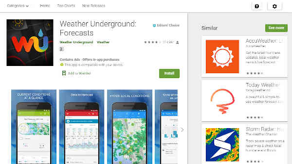 weather underground app for android